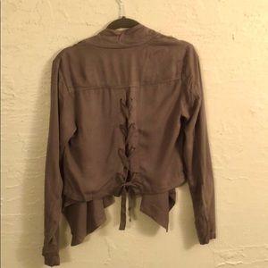 Flowy taupe blazer jacket with a braided back